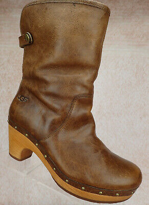 3be0fc7adc1 NEW UGG LYNNEA Short Leather Shearling Wood Clog Boots Distressed ...