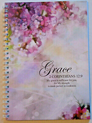 Christian Prayer Journal, Bible Scripture Verse on Every Page, 2 Cor. 12:9 Cover