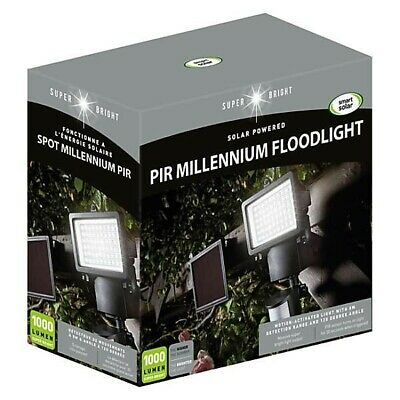 Solar PIR Millennium Floodlight - 1000 lumen, super bright, spot light, garden,