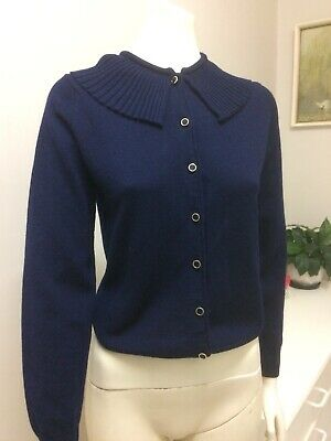 Original Vintage 60s Top Blouse Knitted Sweater Cardigan Pinup Rockabilly