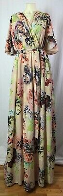 ASOS Long Blush Pink Floral Flutter Sleeve Long Maxi Dress Size 22 2X 3X NWT