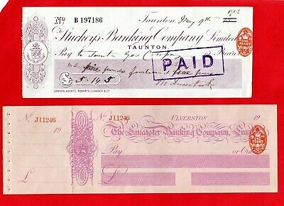2 Antique Cheques, Stuckey's Banking Co Taunton,1902 + Lancaster Banking, C 1903