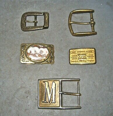 5 LOT VINTAGE BRASS BELT BUCKLES ~ Western, Contemporary, 1 Bowling