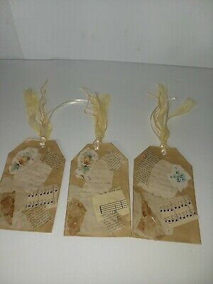 Handmade Junk Gift journal Lot of 3 Tags Yellow And Tan Theme