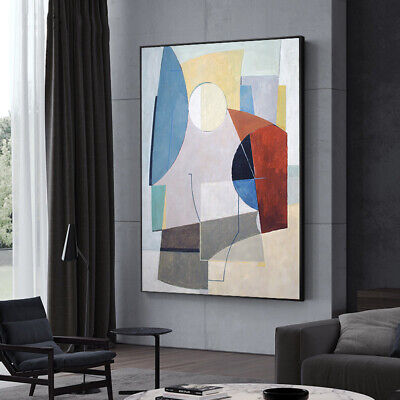 VV383  Modern hand-painted Abstract color block oil painting on canvas  48''