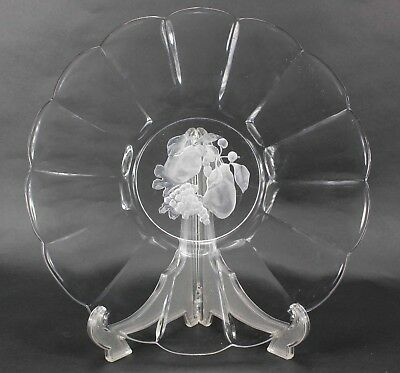 "Val St Lambert Intaglio Clear Brussels Fruit Etched 13"" Scalloped Platter N643"
