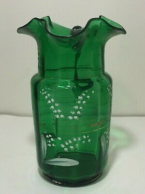 Antique Art Glass Green Enameled Hand Painted Pitcher Ruffled Rim