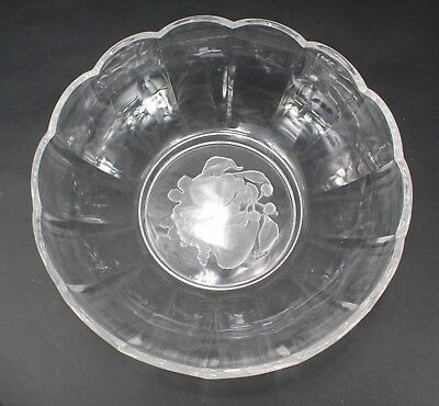 "Val St Lambert Intaglio Clear Brussels Fruit 9.75"" x 3.75"" Scalloped Bowl N550"