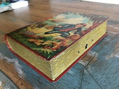 Vintage Treasure Island Tin Book Shaped Bank England Chad Valley