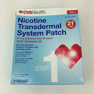 CVS Nicotine Transdermal System Patch Step 1 21mg 7 Patches Exp 06/2019