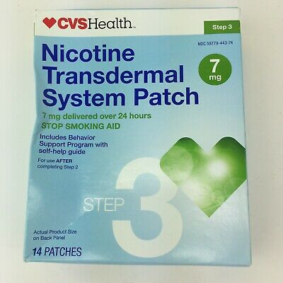 CVS Health Nicotine Transdermal System Patch 14 Patches 7MG Step 3 EXP 7/19