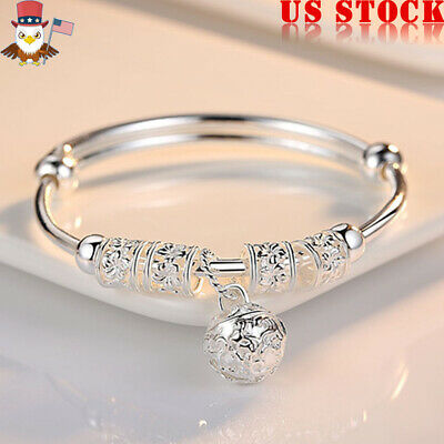 925 Sterling Silver Bracelet Solid Ball Round Women Lady Chain Bangle Ring Charm