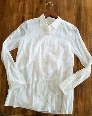 4f371f0c60f6bf *J CREW* PARARUFFLE SHIRT para ruffle Layered Tiered Button Down WHite Top  2 EUC