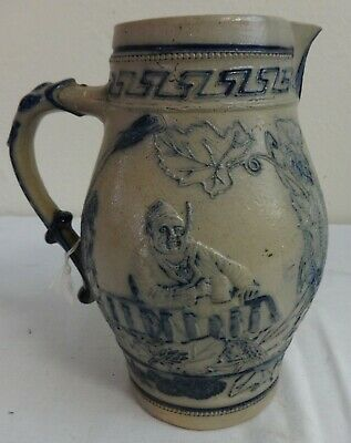 Antique Stoneware Salt Glazed Pitcher Attr. to White's Utica, N.Y