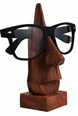 Classic Hand Carved Sheesham Wood Nose Shaped Eyeglass Holder Stand Decorative