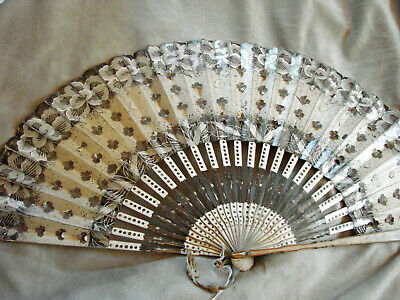 Vintage Hand Fan PAINTED Paper Silver Edwardian Floral Antique 11x21 Large