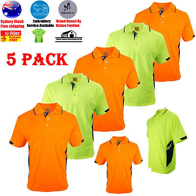 5 PACK Hi-Vis Safety Workwear Short Sleeve Polo Shirt Top For Construction