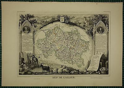 1856 Map France Department ~ De L'allier Gannat La Palisse Montlucon Moulins