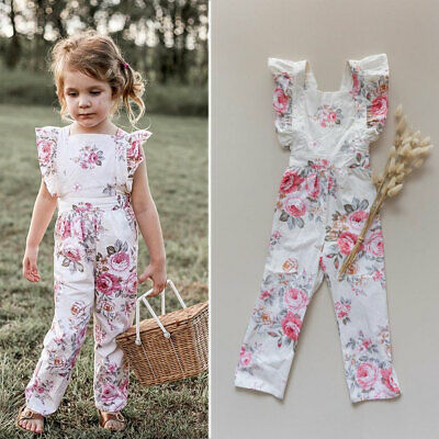 AU Infant Baby Girl Flower Siamese Trousers Rompers Top Pants Outfit Clothes Set