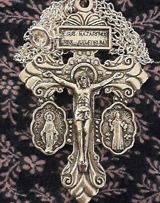 Lot Sterling Silver Filled Pardon Pendant +CHAIN St Mary Benedict Crucifix Cross