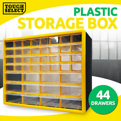 Storage Drawer w/ 44 Compartments, Plastic Tool Box Organiser Bin Screw Case