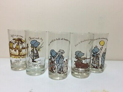 Vintage Lot 5 Holly Hobbie Tumblers Beverage Glasses American Greetings