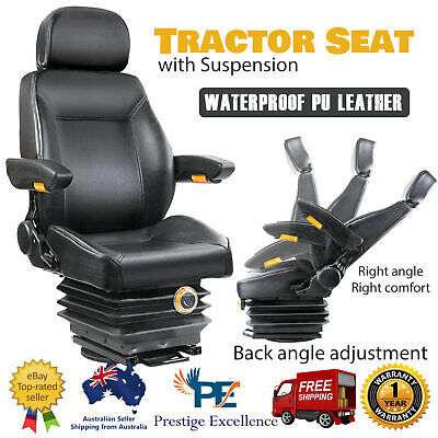 Suspension Tractor Seat Forklift Excavator Truck Adjustable PU Leather Black NEW