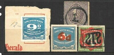New South Wales Railways-Tramways Parcels-Packet Stamps  x 4 MNH/Used