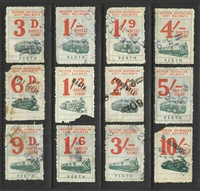 Western Australian Government Railways Parcels Stamps x 12, 3d to 10/-  used