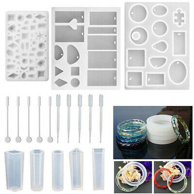 62x Silicone DIY Mould Mold for Resin Round Necklace jewelry Pendant Making tool