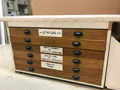 Timber 6 Draw Plan cabinet old has soft canvas top can be removed to restore.