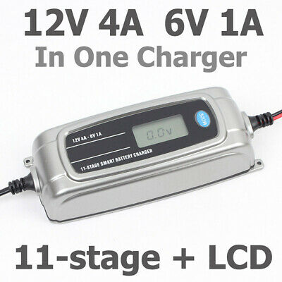 12V 4A 6V 1A 11-stage Smart Battery Charger LCD display for AGM,WET,FEB Battery