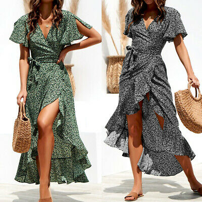 UK Women Short Sleeve Wrap Boho Floral Maxi Dress Ladies Summer Sundress Holiday