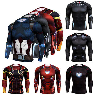 DC Compression Men's Marvel Superhero T-Shirt Long Sleeve Sport Cycling Top Tee