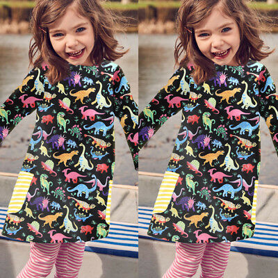 USA Kids Toddler Baby Girls Dinosaur Dress Casual Princess Party Dress Clothes