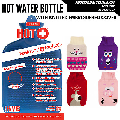 2L HOT WATER BOTTLE with Knitted Cover Winter Warm Natural Rubber Bag - ACCC App