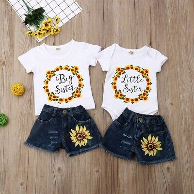 AU Matching Denim Outfits Big Sister T-shirt Little Sister Romper Shorts Clothes