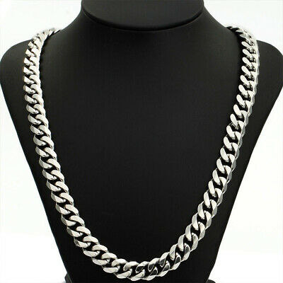 22/24'' 316L Stainless Steel Men Necklace+Box Heavy Link Silver Curb Cuban Chain