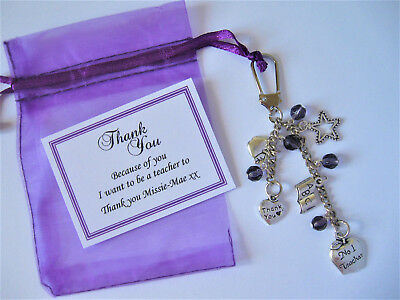 Personalised Teacher Thank You Gift / Teaching Assistant / Nursery - Keyring .,,