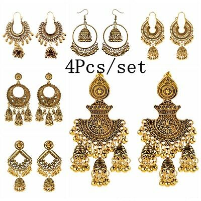 4pcs/set Indian Bollywood Women Jhumka Bohemia Boho Earring Traditional Jewelry