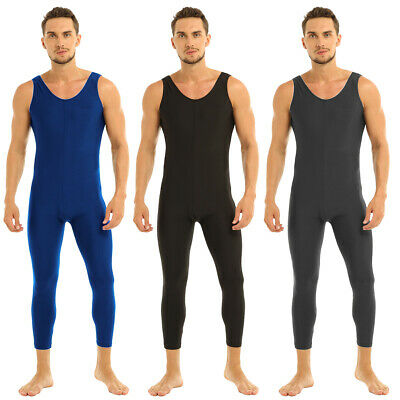 Mens Adult One Piece Sleeveless Skin-Tight Solid Vest Unitard Bodysuit Dancewear