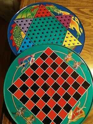 Unique Vintage Large Dragon & Knights Chinese Checkers Tin. Mint. Rare.