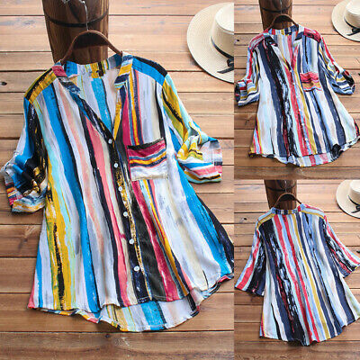 Plus Size Women Striped Long Sleeve Blouse Loose Tops Ladies Button T-shirt 8-24