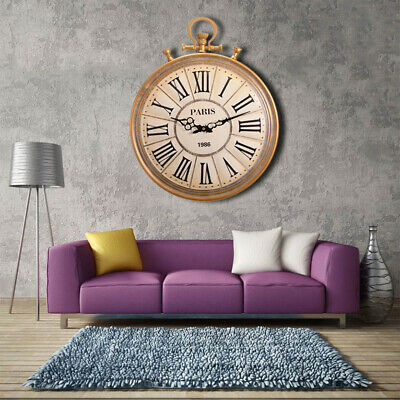Large Vintage Pocket Watch Style Roman Numerals Wall Hanging Clock Home Decor UK