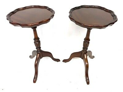 PAIR Antique Style Mahogany Wine Tables / Occasional Tables / Lamp Stands