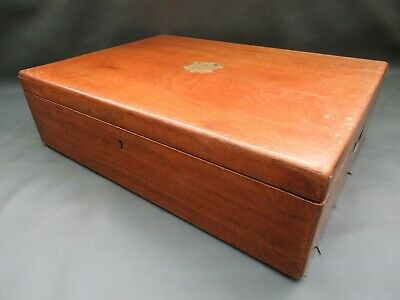 Vintage large empty wooden cutlery box & lift out tray convert to collectors box