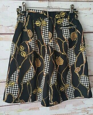 Vintage 90s scarf print chain high waisted lined shorts S M