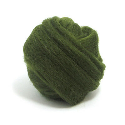 100g DYED MERINO WOOL TOP WILLOW DARK GREEN DREADS 64's SPINNING FELTING ROVING