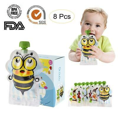 8Pcs Reusable Refillable Squeeze Food Pouch Storage Bag Baby Food Double Zipper