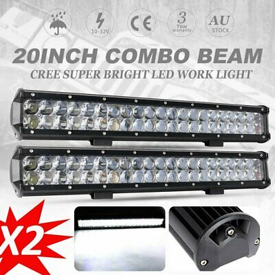 2X 20 inch CREE LED Work Light Bar Flood Spot Offroad Driving 4x4 UTE Car 23""